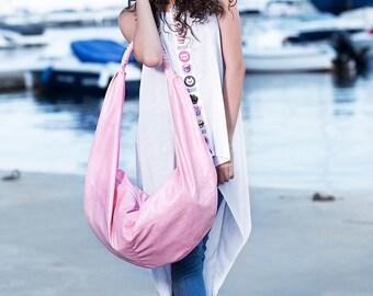 Oversized messenger bag / Extravagant Pink faux leather bag / Vegan leather bag / avant garde bag / big tote / Large pink tote bag