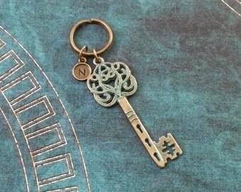 Key Keychain Bronze Skeleton Key Keyring Patina Keychain Blue Key Charm Keychain Brass Keychain Monogram Keychain Antique Key Keychain