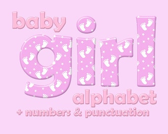 Pink baby girl alphabet clipart, baby feet pattern, children font, capital and small letters, numbers and punctuation; for commercial use
