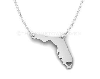 Florida Necklace, I heart Florida necklace, Florida map necklace