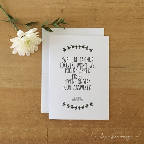 Disney Quotes For Christmas Cards: Disney Winnie The Pooh Quote Friendship Greeting Card