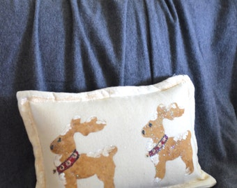 Hand Painted Glittered Reindeer Pillow