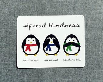 Spread Kindness Penguin Postcard // Single Postcard