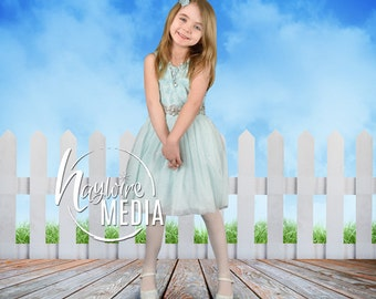 Baby, Child, Easter Spring Wooden Fence Photography Digital Backdrop for Photographers - Wood Floor and Nature Sky Background
