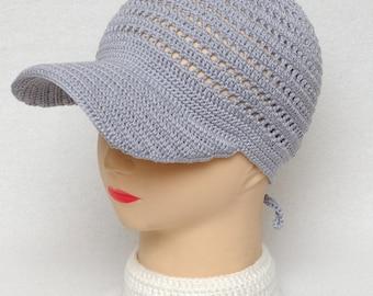 Grey Baseball Cap Gray Trucker Hat Visor Cap Unisex Adult Clothing Crochet Hat Best Friend Gift Idea Unisex Cap Comfortable Casual Hat