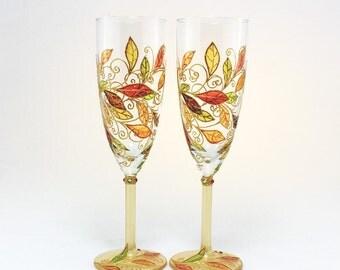 Autumn Leaves Glasses, Fall Wedding Glasses, Autumn Wedding Glasses. Wine Glasses, Hand Painted Glasses