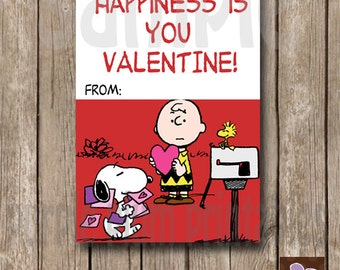Instant Download - Charlie Brown Valentine Card - Happiness Class Valentine - Print at Home