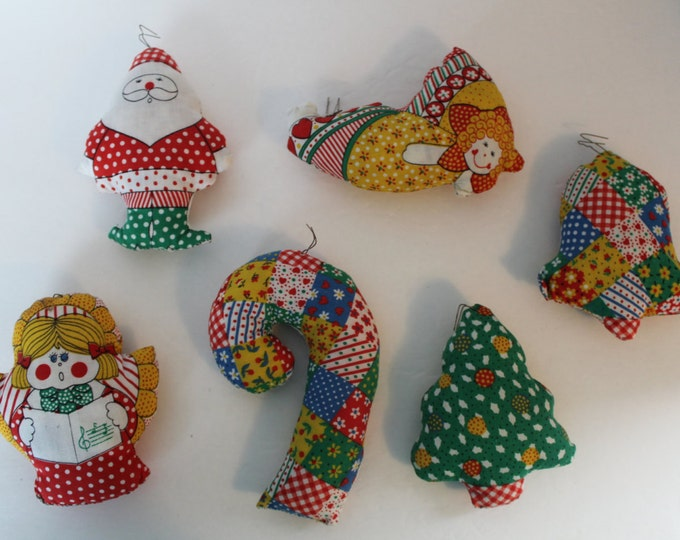 Vintage Patchwork Fabric Stuffed Christmas Ornaments Set of 12