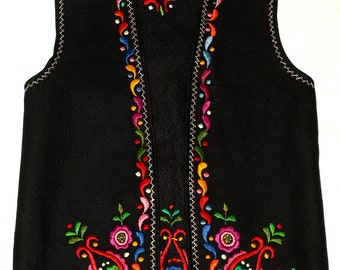 Black Hungarian Hand Embroidered Matyo Floral Felt Vest Size EU 40 / UK 12