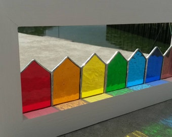 Beautiful Handmade Framed Stained Glass Beach Huts in Rainbow colours