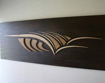THE CURL - Surf art   wood wall sculpture