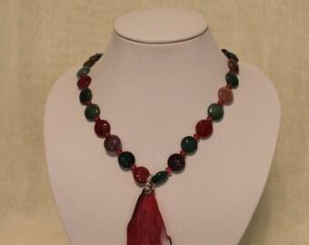 raspberry quartz necklace and pendant