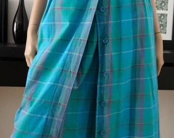 jupe midi vintage MISS ANTONNETTE madras bleu/vert taille 38 / Uk 10 / us 6