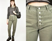 BONGO Jeans, High Waisted Jeans, Women's Size 8, Army Green Jeans, 90s Bongo, Tapered Fit Jeans, Skinny Jeans, Slim Fit Jeans, Button Fly