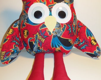 Batman Inspired Stuffed Owl In Red