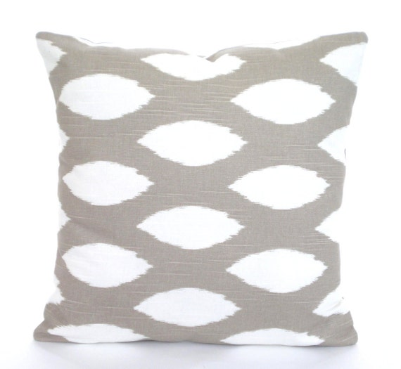 Ikat Throw Pillow Covers : Taupe White Ikat Throw Pillow Covers Cushions Taupe Ecru Tan