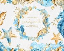 Watercolor Sea Clipart, Nautical Clipart, Seashells, Sea Horse, Coral Reef, Starfish, Summer Collage Sheet, Tropical, Blue, Navy, Sand