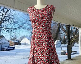 Retro Dress 1950's 50's Pin-Up in Hearts & Zebra