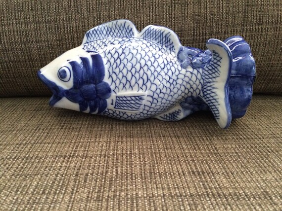 Blue and white decor porcelain koi fish vase asian decor for Blue and white koi fish