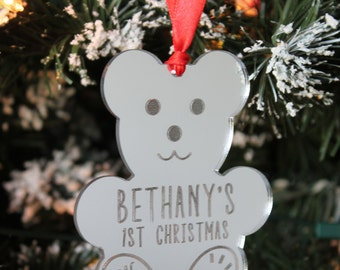Personalised Mirror TEDDY BEAR Baby's 1st Christmas 2017 Tree Decoration & Gift Bag