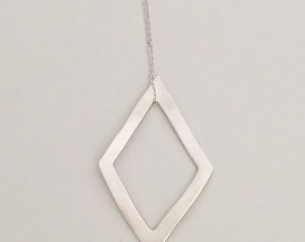 Hollow diamond pattern pendant necklace, geometric pendant, fine silver with sterling silver chain