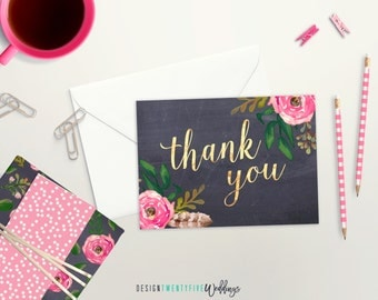 Chalkboard Floral Thank You Card | Set of 4, 10, 25 or 50 | Matte Faux Gold Foil Card | Thank You Card Set | Wedding Thank You Cards