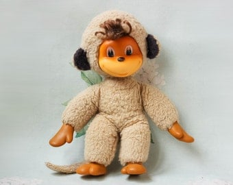 Soviet Monkey Toy / Rare USSR Vintage Mid Century Stuffed Mohair Animal Toy, Cute Rubber Face / 12,5'' Tall Combination Doll, Circa 1970's