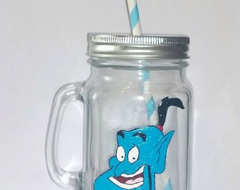 Hand painted Genie (from Aladin) drinking jar.