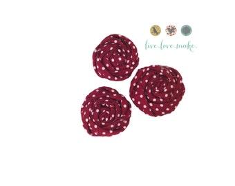 "1.5"" Red Wine-Polka Dot-Mini Rolled Fabric Rosettes-Rosette-Fabric Flower-Rolled Rosette-Rose-Shabby Chic-small-petite-mini-cotton"
