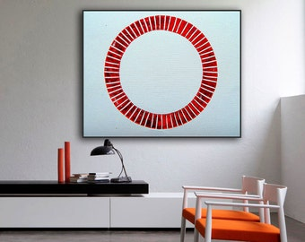 Abstract Geometric Large Painting Giclee Print From Original Horizontal Painting Red And White Circle Contemporary Modern Op Art