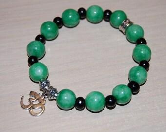 Om Bracelet,Jade Bracelet,Jade 10mm Gemstone Beads,Spirituality,Mala,Good Luck Bracelet,Man,Woman,Prayer,Yoga Bracelet,Protection,Meditation