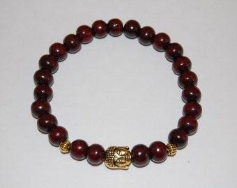 Golden Happy Buddha Bracelet,8mm burgundy Wood Beads,Elastic Easy Fits,Pray,Man,Woman,Boho,Yoga,Spirituality,Meditation