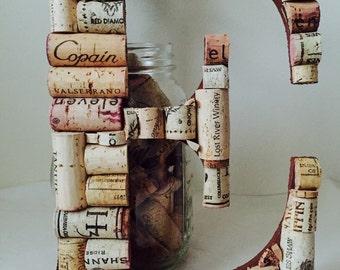 Wine Cork Letter E; Cork Letter E;Wedding Decor; Vineyard Wedding; Home Decor;Wine Cork Crafts