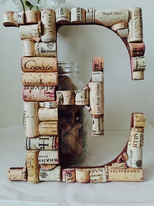 Crafts made with corks - Wine Cork Letter E Cork Letter E Wedding Decor Vineyard Wedding Home