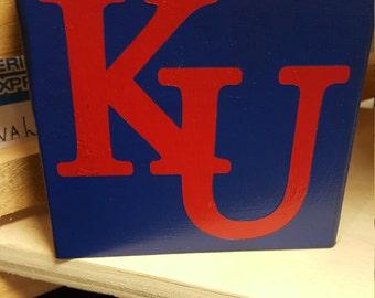 KU and KSU Wooden Block
