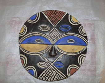 Unique Colourful Round Traditional African Tribal Mask