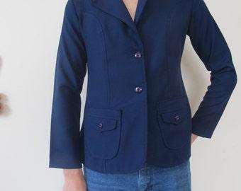 s/m royal blue 70s blazer - size small / medium retro blazer prep school