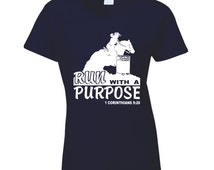 Barrel Racer Run With A Purpose Scripture Tshirt, Barrel Racing Shirt, Rodeo T Shirt