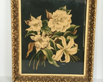 Incredible 1950s Turner print w/carved frame. Black with creamy white lilies, camellias and gardenias and green foliage. Cottage Chic