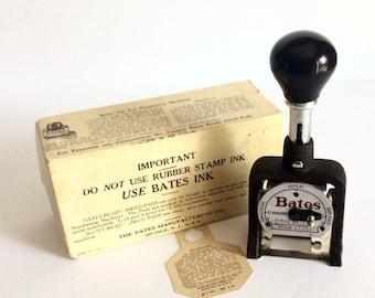 Vintage Bates Numbering Machine Counter Stamper Industrial Number Stamp Hand, Mid Century Urban Industrial Office Supply, Bates 0671164