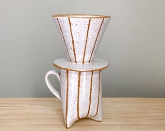 White stripe coffee pour over and mug set by MUD TO LIFE