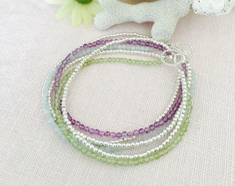 Double Strand, Amethyst, Peridot, Amazonite, Sterling Silver Beaded Bracelet. Has Option to Personalize