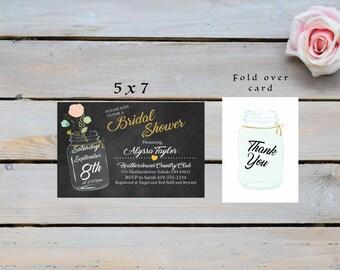 Marson Jar Bridal Shower Invitation, Mason Jar Bridal Shower,  Marson Jar Invite, Thank You cards