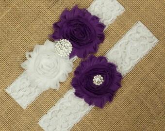 Wedding Garter, Bridal Garter, Keepsake Garter, Wedding Garter Set, Bridal Toss Garter, Purple Wedding Garter Belt, Purple Wedding, SCW1-P02