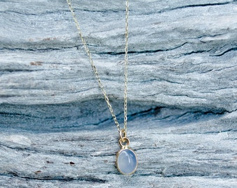 Gold Pendant, 14k Yellow Gold, Gemstone Necklace, Chalcedony Pendant, Oval Gemstone, Gift for Her