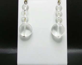 Quartz Crystal Sterling Silver Hook Earrings.