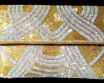 New Hand Beaded Gold With Rhinestone Fine Quality One Of a Kind Evening Clutch Bag