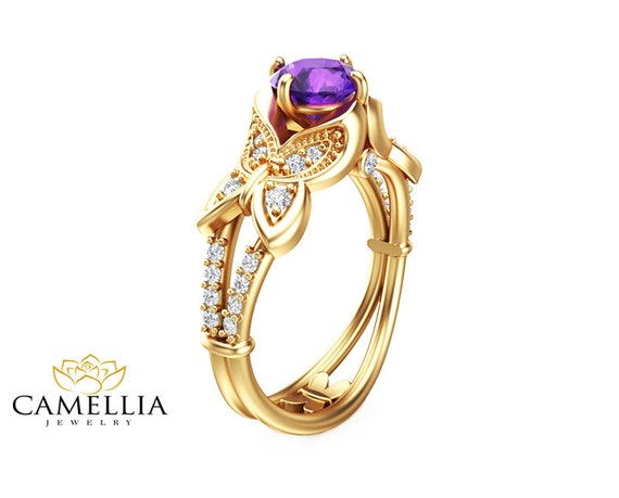 14k yellow gold amethyst engagement ring unique amethyst