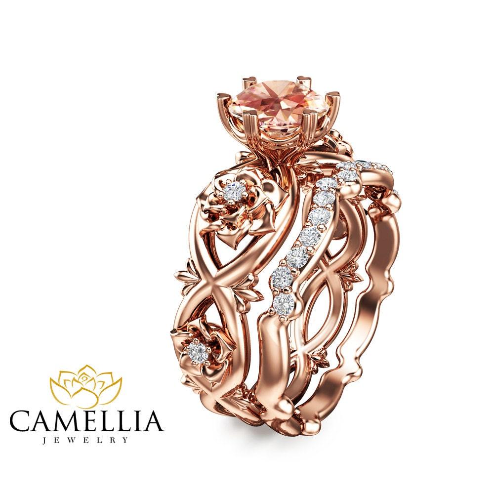 14k rose gold morganite engagement ring rose gold bridal set. Black Bedroom Furniture Sets. Home Design Ideas