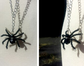 Itsy Bitsy Spider - Black Beaded Spider Necklace - Halloween